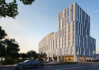 © SKAI Siemer Kramer Architekten Ingenieure Partnerschaft mbB Hamburg | Visualisierung niu Hotel in Düsseldorf