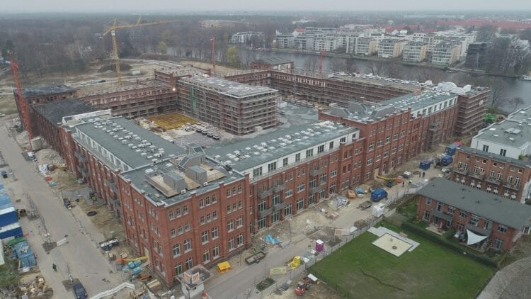 Drohnenaufnahmen Neubau Wohnanlage Spreekarree in Berlin