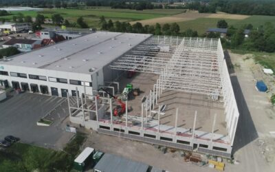 MBN-Luftbildaufnahmen 2. Bauabschnitt der Produktionshalle in Selm